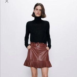 Zara pleated faux leather mini skirt